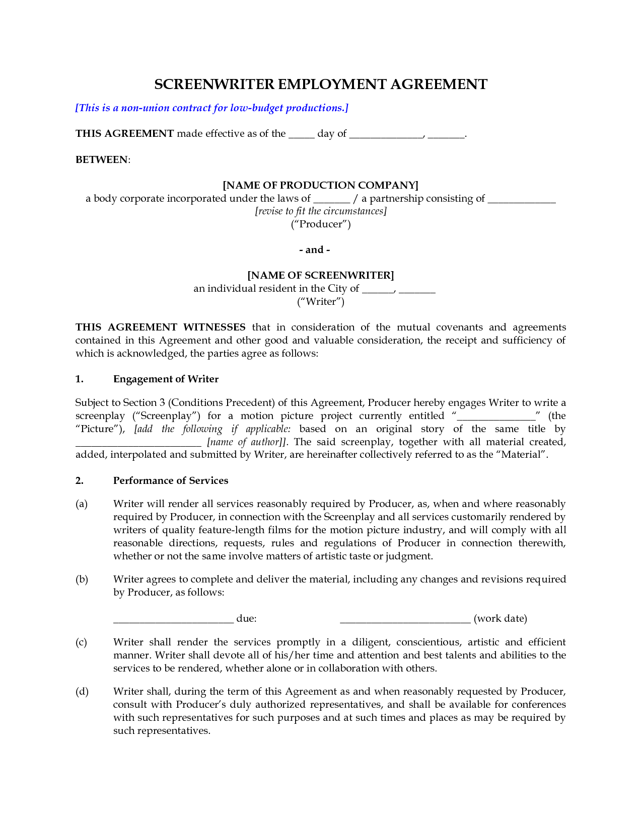 Screenwriting contract entertainment lawyer – Investors Contract Agreement